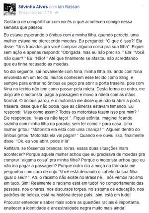 Relato de Sílvia em sua página no Facebook (Foto: Reprodução/Facebook)