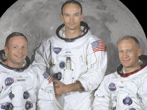 Foto oficial da Apollo 11. Armstrong à esquerda, Michael Collins no centro e Buzz Aldrin à direita (Foto: NASA Great Images in Nasa Collection)