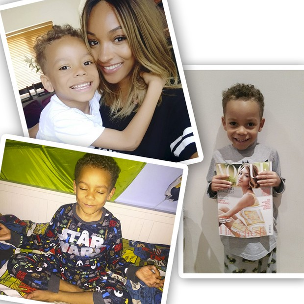 Jourdan Dunn e seu filho ultrafofo, Riley (Foto: Instagram/Reprodução)