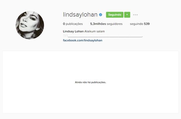 Perfil do Instagram de Lindsay Lohan não tem mais nenhuma publicação (Foto: Reprodução / Instagram)