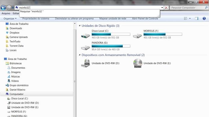 Clique na barra de endereços do Windows Explorer e digite msinfo32 (Foto: Reprodução/Daniel Ribeiro)