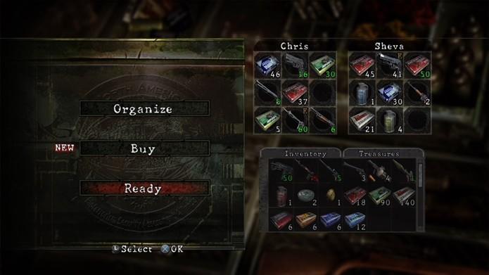 Em Resident Evil 5, o inventário pode ser organizado antes de cada capítulo (Foto: Reprodução/Felipe Demartini)