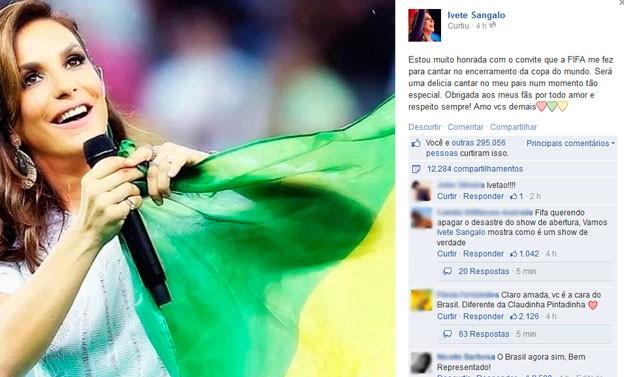 Ivete comenta convite para se apresentar em encerramento da Copa (Foto: Reprodução / Facebook)
