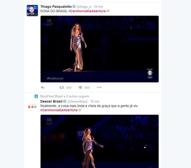 Internautas elogiam Gisele Bündchen na cerimônia de abertura da Olimpíada Rio 2016 (Foto: Reprodução/Twitter)