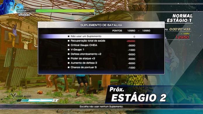 Street Fighter V: use Suplementos de Batalha entre os confrontos (Foto: Reprodução/Victor Teixeira)