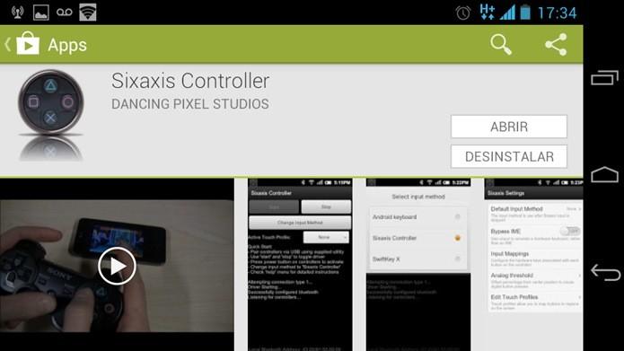 Aplicativo Sixaxis controller está disponível na Google Play (Foto: Reprodução / Dario Coutinho).
