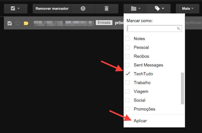 Inserindo um marcador personalizado a uma mensagem do Gmail (Foto: Reprodução/Marvin Costa)