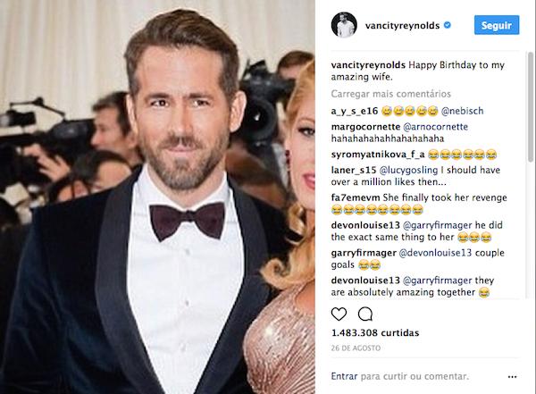 A piada feita por Ryan Reynolds no dia do aniversário de sua esposa, a atriz Blake Lively (Foto: Instagram)