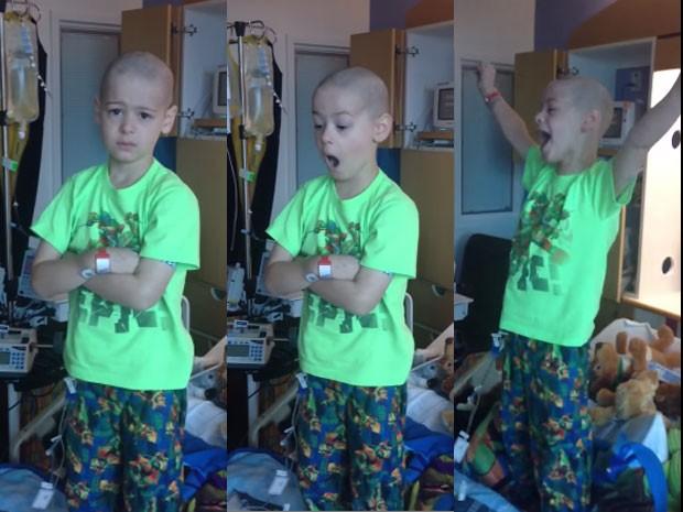 Avery Harriman, de 7 anos, reage ao saber que irá para casa durante tratamento contra leucemia (Foto: Reprodução/YouTube/Nebraska Huskers)