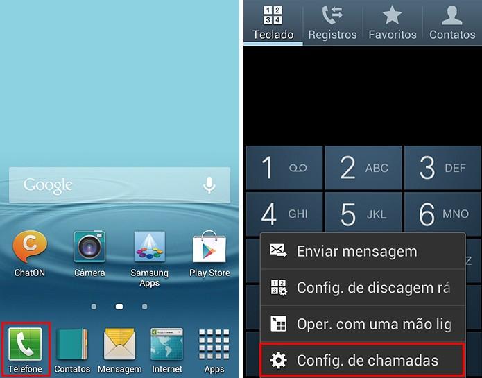 Acesse as configurações de chamadas do aparelho (Foto: Reprodução/Paulo Alves)