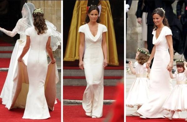 Pippa causou furor ao usar um vestido branco justo no casamento de William e Kate, em 2011 (Foto: Reprodução)