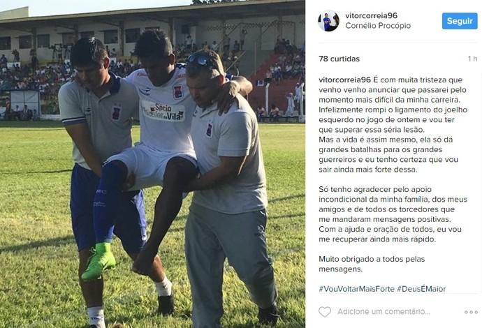 Post Vitor Feijão lesão Paraná (Foto: Reprodução/Instagram)