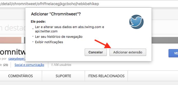 Opção para adicionar a extensão Chromnitweet ao Google Chrome (Foto: Reprodução/Marvin Costa)