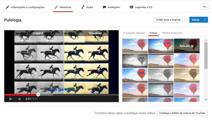 Aplicação de filtros em edição de vídeo no YouTube (Foto: Reprodução/Paulo Finotti)
