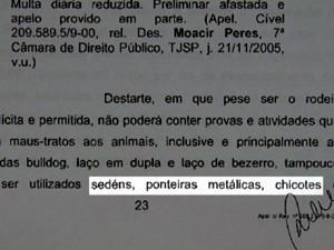 Documento destaca proibição do uso do sedém (Foto: Reprodução/EPTV)