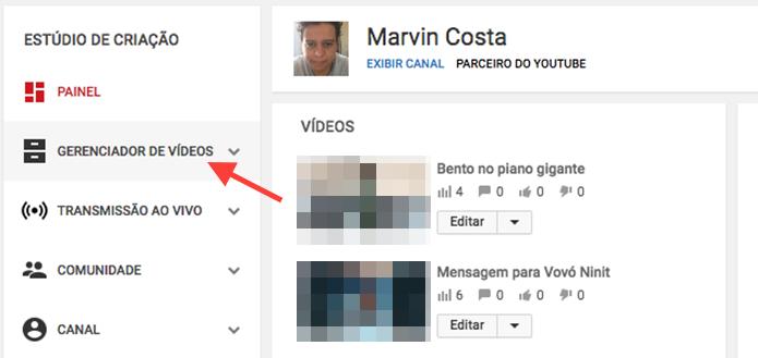 Opção para acessar o gerenciador de vídeos em um canal do YouTube (Foto: Reprodução/Marvin Costa)
