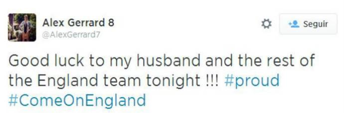 Esposa de Gerrard deseja boa sorte ao marido e à seleção inglesa (Foto: Reprodução)