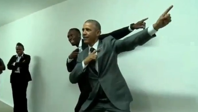 Usain Bolt e Barack Obama encontro Jamaica (Foto: Reprodução)