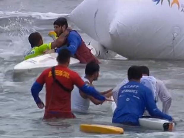 Marcos Rossi salvou ex-BBB Fernando Fernandes (Foto: Reprodução / SporTV)