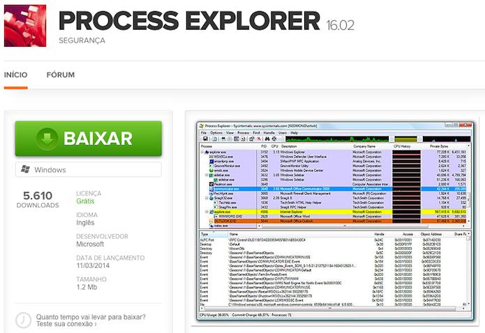 Baixe o aplicativo Process Explorer (Foto: Reprodução/Helito Bijora)