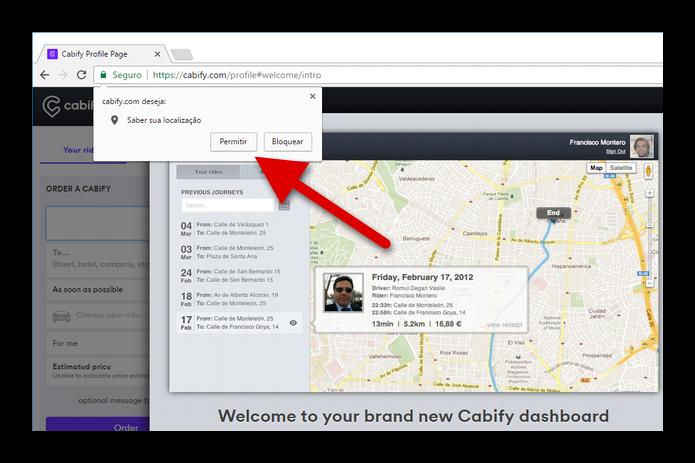 Permita que o Cabify saiba a sua localização (Foto: Felipe Alencar/TechTudo)