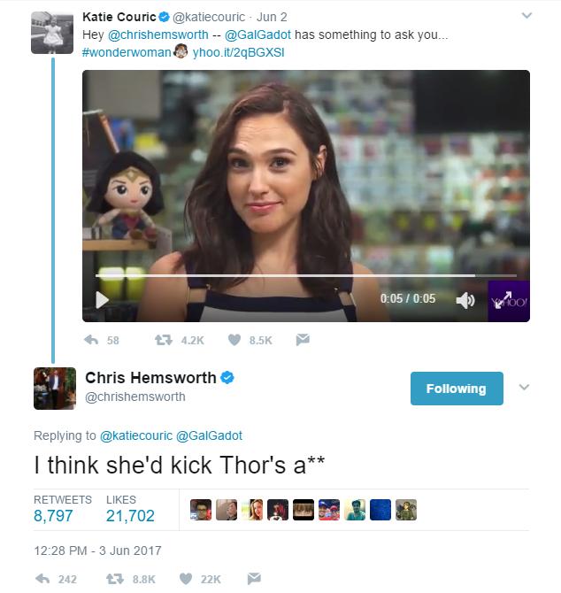Em vídeo, Gal Gadot pergunta ao ator que interpreta Thor quem venceria a batalha (Foto: Reprodução)