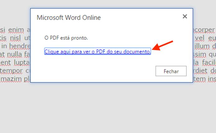 Gerando o arquivo PDF no Word Online (Foto: Reprodução/Marvin Costa)