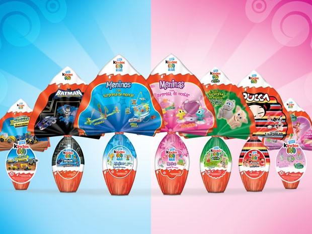 Linha de ovo do Kinder Ovo inclui versões para meninos e para meninas (Foto: Divulgação)