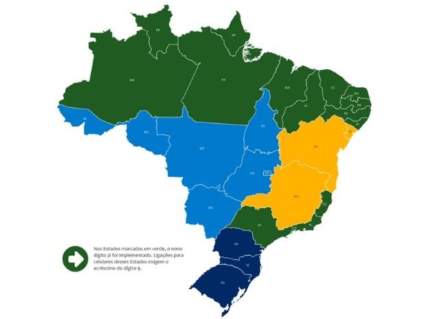 Estados em azul claro ganham nono dígito a partir de domingo (Foto: Divulgação/Anatel)