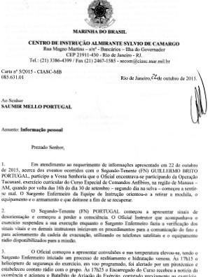 Documento relata demora no socorro ao tenente  (Foto: Reprodução )