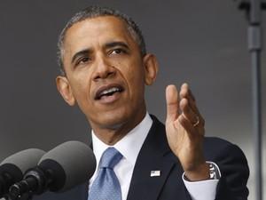 O presidente dos EUA, Barack Obama, durante um discurso na academia militar de West Point, no estado de Nova York, nesta quinta-feira (28) (Foto: Kevin Lamarque/Reuters)