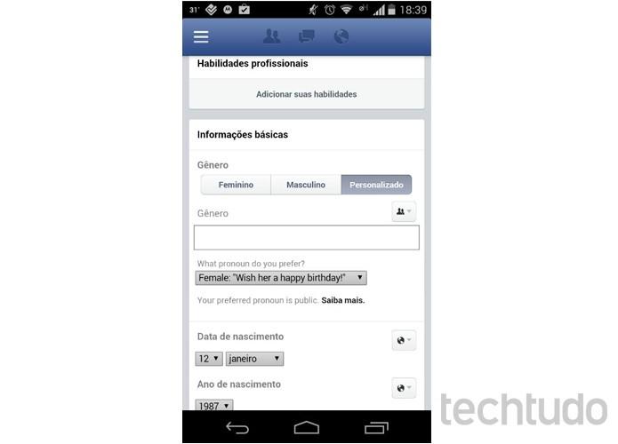 Mudança do Facebook também é percebida em celulares Android (Foto: Melissa Cruz/TechTudo)