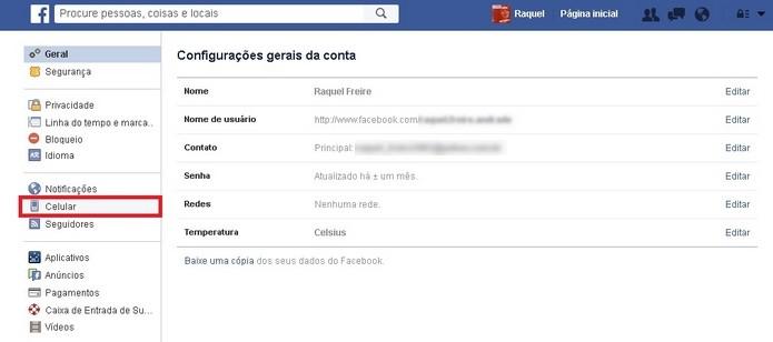 Destaque para menu Celular na versão web do Facebook (Foto: Reprodução/Raquel Freire)