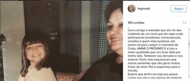 Prima de Ana Paula Valadão no instagram (Foto: reprodução/instagram)