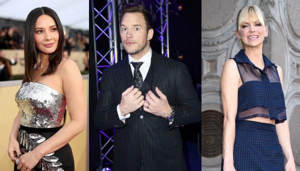 Olivia Munn, Chris Pratt e Anna Farris (Foto: Getty Images)