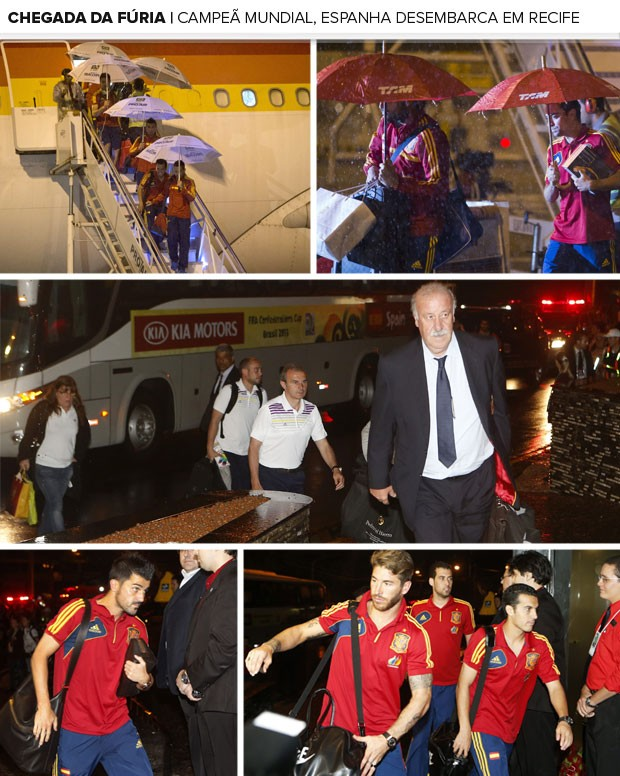 Mosaico chegada Espanha (Foto: AP / EFE)