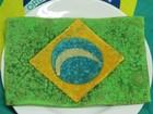 Pastel de feijoada com a bandeira do Brasil faz sucesso entre torcedores