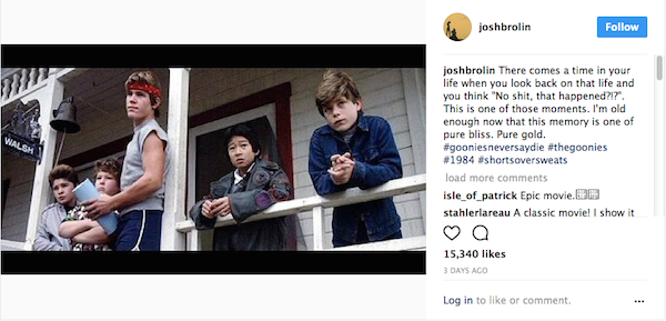 A homenagem feita por Josh Brolin ao clássico Os Goonies (Foto: Instagram)