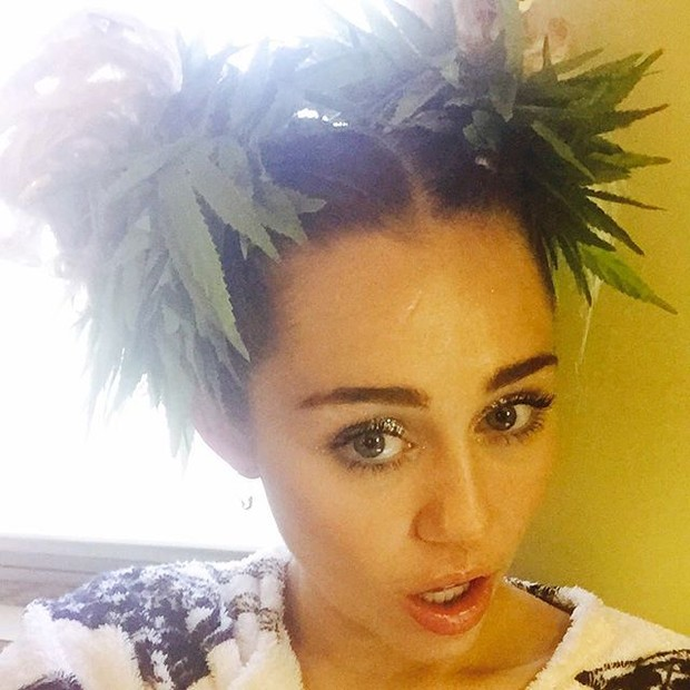 Miley Cyrus com plantas de maconha nos cabelos (Foto: Instagram/ Reprodução)