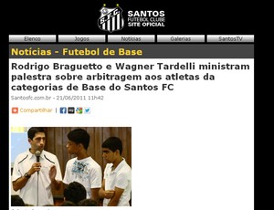 Braghetto site oficial santos (Foto: Reprodução/Santos TV Santos)