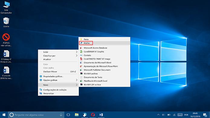 Crie um atalho na área de trabalho do Windows 10 para desligar o computador (Foto: Reprodução/Elson de Souza)