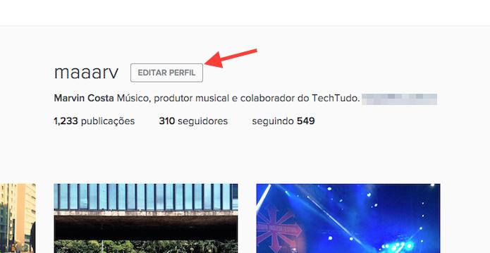 Acessando a página de edição de perfil do Instagram pela web (Foto: Reprodução/Marvin Costa)