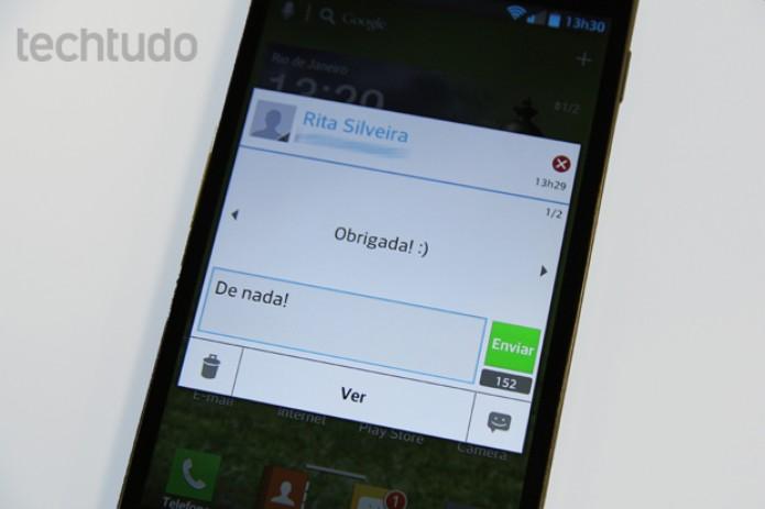Optimus G exibe janelas para respostas rápidas à SMS, mas bug no teclado irrita (Foto: Elson de Souza/TechTudo)