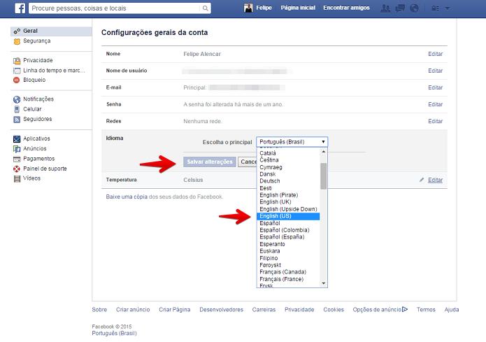 Alterando o idioma do Facebook (Foto: Felipe Alencar/TechTudo)