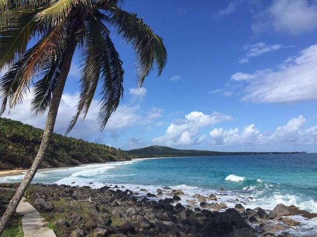 Ilha no mar do Caribe onde a lancha em que Dulce estava virou (Foto: Arquivo Pessoal)