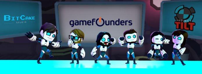 Desenvolvedores do BitCake transformados em robôs de Project Tilt. Montagem em homenagem ao contato com a GameFounders na Estônia (Foto: Divulgação)