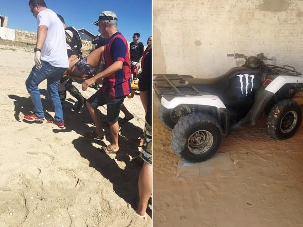 Segundo a PM, mulher estava se bronzeando nas areias da praia quando foi atropelada; ferida, ela foi socorrida ao hospital (Foto: PM/Divulgação)