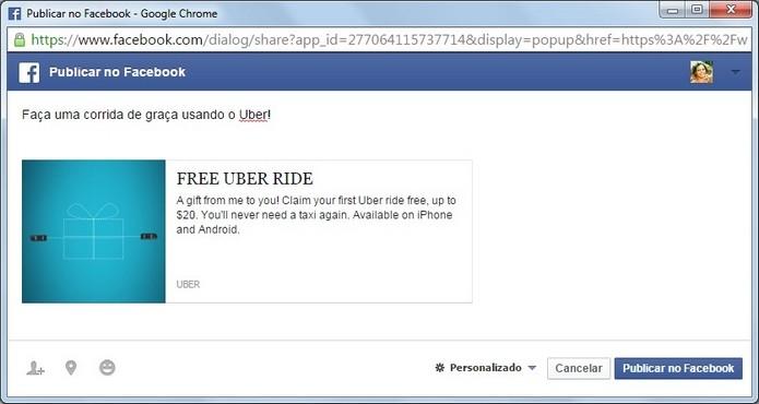 Código de viagem promocional sendo enviado via Facebook (Foto: Reprodução/Raquel Freire)