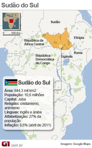 mapa sudão do sul (Foto: Arte/G1)