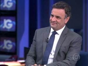 O candidato do PSDB à Presidência, Aécio Neves, em entrevista ao JG (Foto: Reprodução/TV Globo)